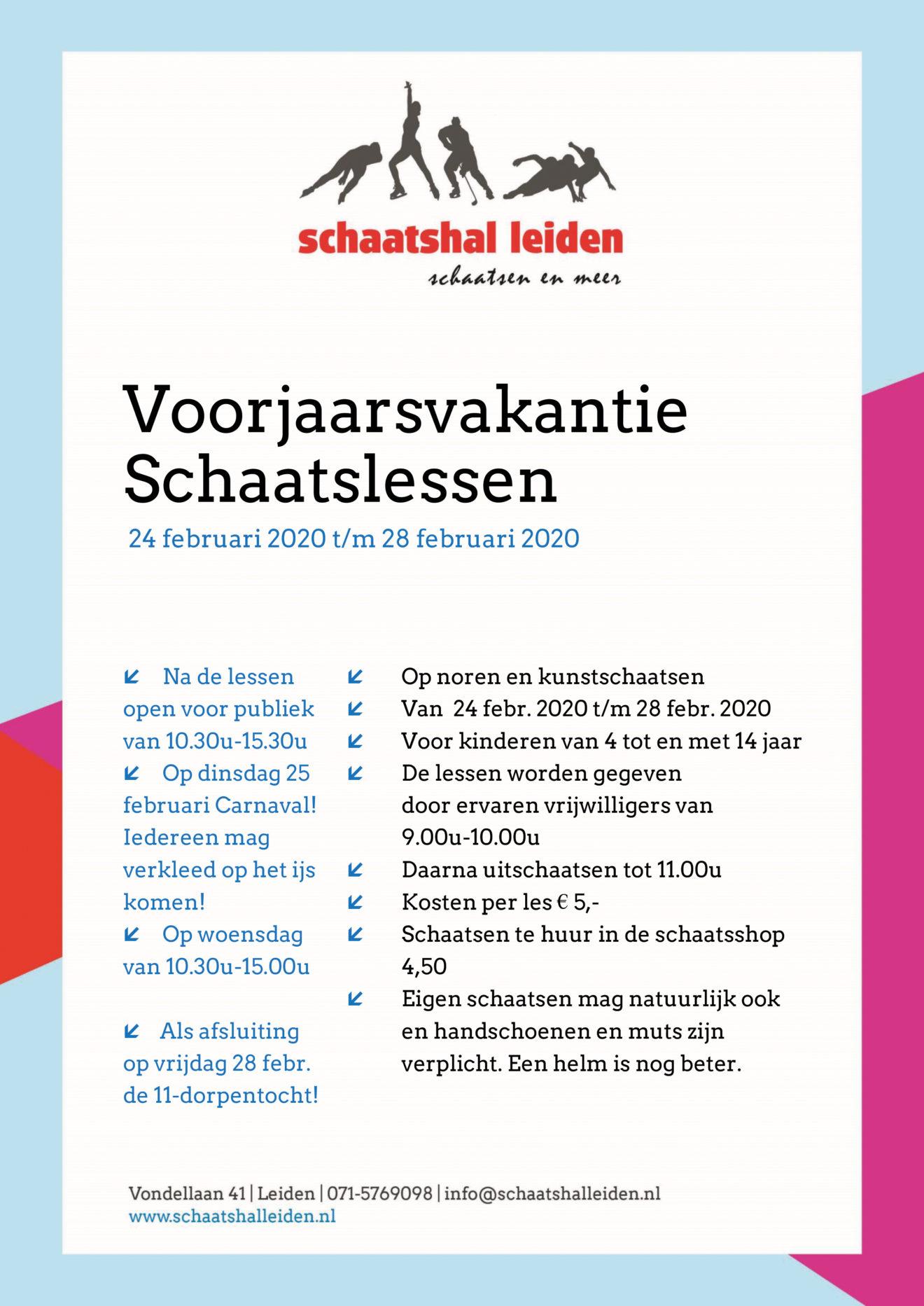 Poster Voorjaarsvakantie 2020 SchaatshalLeiden
